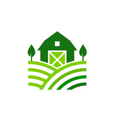 Landscape farm logo icon design vector