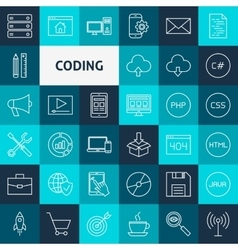 Line Coding Icons vector image