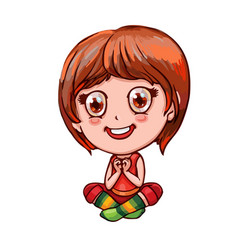 Little cheerful girl folded hands in the shape of vector