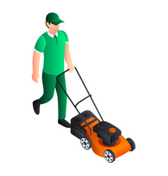 Man cut grass icon isometric style vector