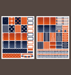 Marine printable stickers for planner vector
