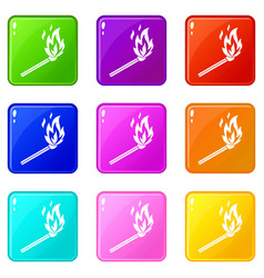 Match flame set 9 vector