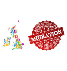 migration composition of mosaic map of great vector image