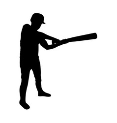 Monochrome silhouette of baseball player with vector