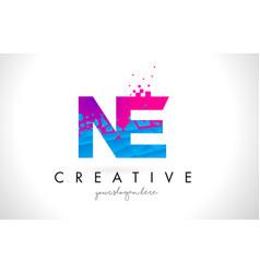 Ne n e letter logo with shattered broken blue vector