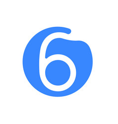 number 6 six font logo blue icon vector image