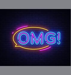 omg neon sign omg pop art design template vector image