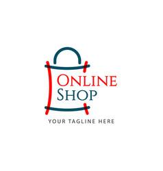 Online shop logo template design vector
