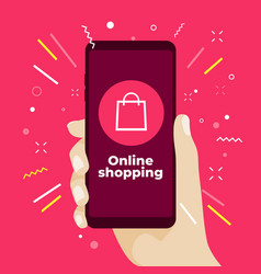 online shopping concept with smartphone vector image