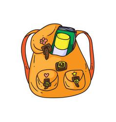 Orange backpack vector