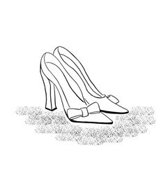 outline drawing of high heel classic shoes vector image