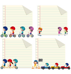 paper design with kids riding and driving vector image