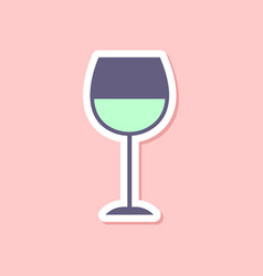 Paper sticker on stylish background glass of wine vector