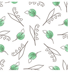 pattern with lily of the valley vector image