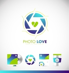 Photography shutter aperture love heart logo icon vector