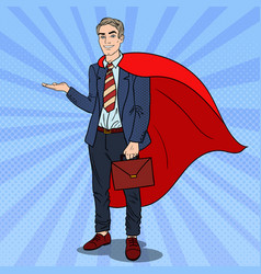 Pop art super businessman in red cape vector