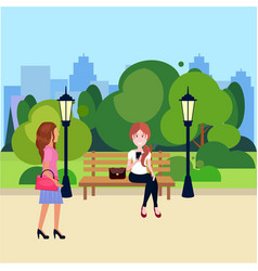 Public urban park woman sitting wooden bench vector