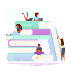 readers around stack of books vector image