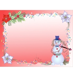 Red Christmas Background with Confetti and Snowman vector image