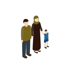 Refugee family icon isometric 3d style vector image