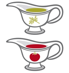 Sauce gravy or boat with cream vector
