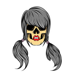 scary hand drawn women skull with the vector image