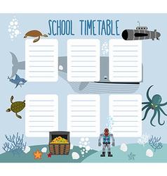 School schedule with underwater world timetable vector