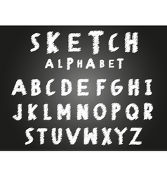 Scribble sketch alphabet vector image