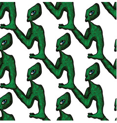 seamless doodle pattern alien vector image