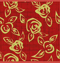 seamless pattern with outline stylized roses vector image