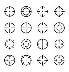 set crosshair icons on white background vector image