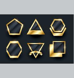 set golden empty badges and labels design vector image