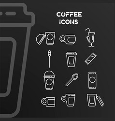set white linear icons on coffee theme vector image