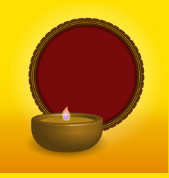 Shubh happy diwali festival oil lamp with a red vector