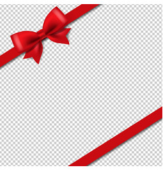 silk red ribbon isolated transparent background vector image