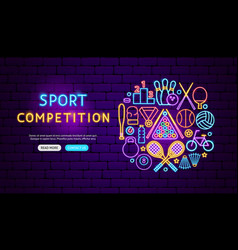 Sport competition neon banner design vector