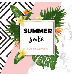 summer sale template with marble and pink vector image