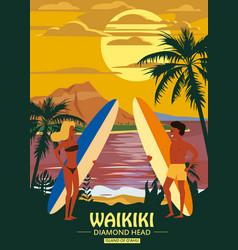Surfers man and woman couple on beach waikiki vector