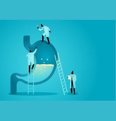 team doctors diagnose human stomach vector image