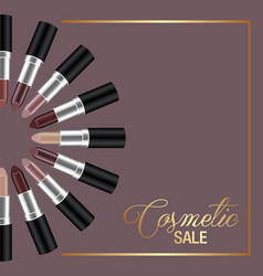 Template banner design for cosmetic sale vector