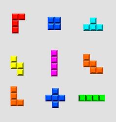 Tetris bricks set vector