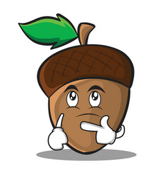 thinking acorn cartoon character style vector image