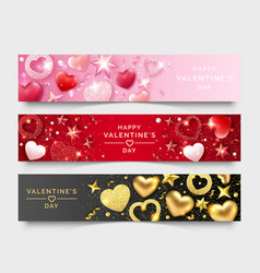 three valentines day horizontal banners with vector image
