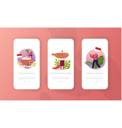 Traditional indonesian asian meals mobile app page vector