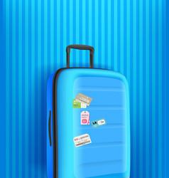 Vertical banner with blue travel handbag on blue vector
