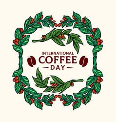 vintage frame coffee plants vector image