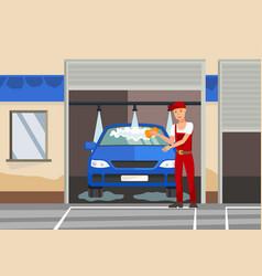 Washing automobile flat color vector