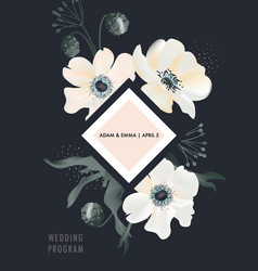 watercolor anemones floral bouquet design on dark vector image