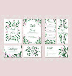 Wedding card templates set with eucalyptus vector