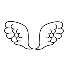 wings angel drawn icon vector image